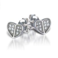Flat Heart Silver Studs with Cubic Zirconia