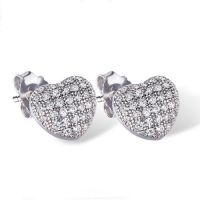 Silver Cushion Heart Studs with Cubic Zirconia