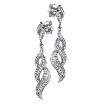 Twisted Silver Drop Earrings with Cubic Zirconia