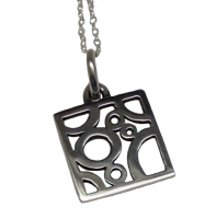 Annabel Humber Silver Square Circles Pendant