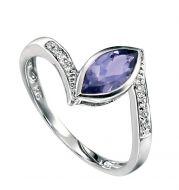 Iolite & Diamond White Gold Ring