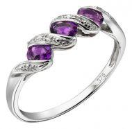 Diamond & Amethyst White Gold Ring