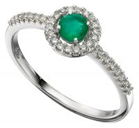 Diamond & Emerald White Gold Ring
