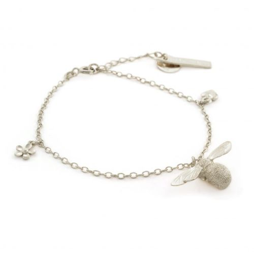 Alex Monroe Silver Bumble Bee, Flower and Heart Bracelet - PLEASE CONTACT US FOR PRICE