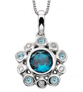 Blue Topaz & Diamond White Gold Pendant