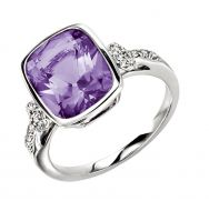 White Gold Amethyst & Diamond Ring