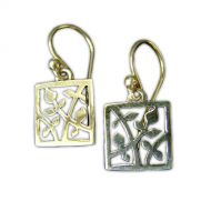 Annabel Humber Silver Leafy Square Earrings