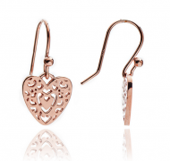 Filigree Heart Rose Gold Earrings