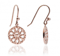 Chavin Filigree Rose Gold Circular Jaguar Drop Earrings