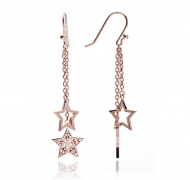 Rose Gold Double Star Drop Earrings