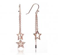 Rose Gold Double Star Drop Earrings
