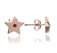 Chavin Rose Gold Star Ruby Studs