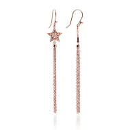 Rose Gold Star Tassel Drop Earrings
