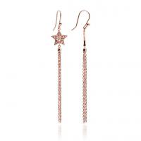 Rose Gold Star Tassel Drop Earrings