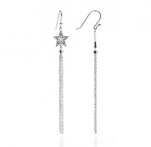 Star Silver Tassel Earrings