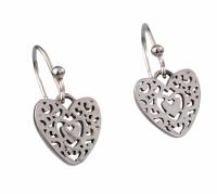 Silver Filigree Heart Drop Earrings