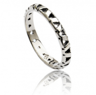Silver Jaguar Head Lattice Stacking Ring