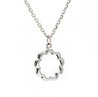 Silver Silhouette Paisley Flower Pendant