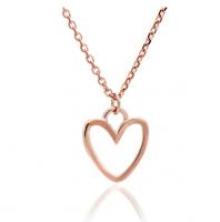 Silhouette Heart Rose Gold Pendant