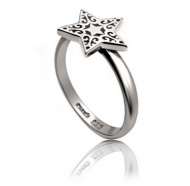 Silver Star Pattern Ring