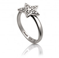 Silver Star Pattern Ring