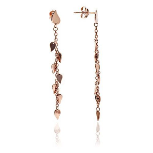 Rose Gold Leaf Dangle Earrings