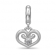 Endless Passion Heart Silver Charm