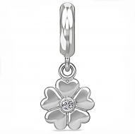 Endless Heart Flower Drop Silver Charm