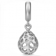 Endless Open Heart Drop Silver Charm