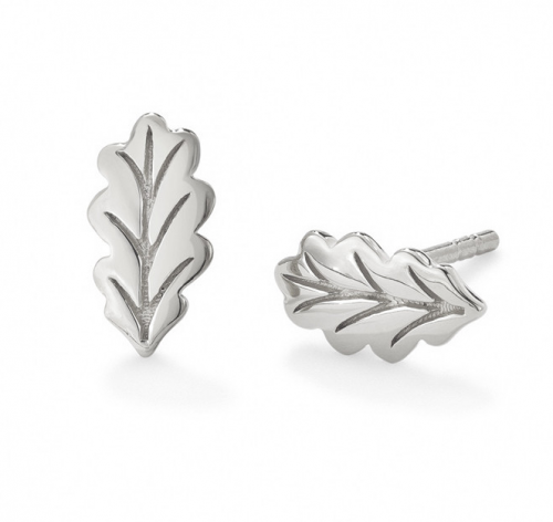 "Oak ""Swept Away"" Silver Leaf Stud"