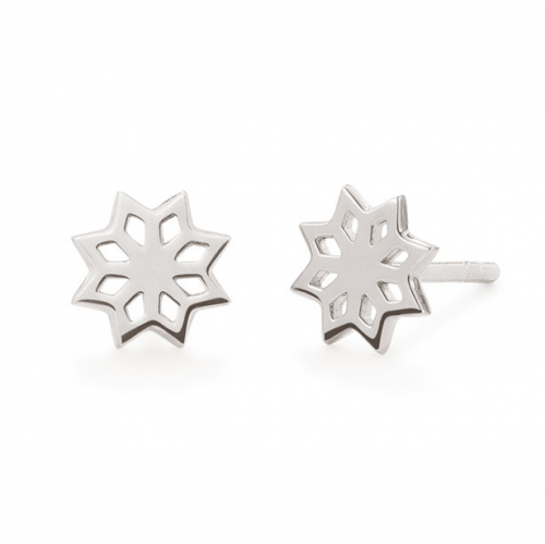 "Oak ""Star Flower"" Silver Studs"