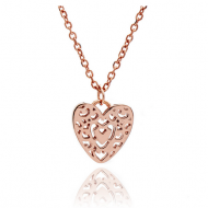 Rose Gold Filigree Heart Pendant