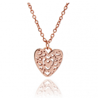 Rose Gold Filigree Heart Pendant
