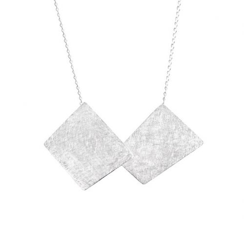 Chris Lewis Silver Two Piece Geometric Necklace