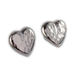 Chris Lewis Silver Hammered Heart Studs