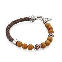 Brown Leather Beaded Bracelet