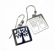 Annabel Humber Silver Tree of Life Square Drop Earrings