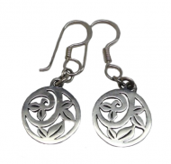 Annabel Humber Round Leaf Detail Silver Drop Earrings