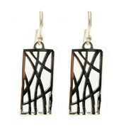 Annabel Humber Rectangular Grasses Silver Drop Earrings