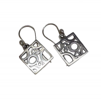 Annabel Humber Silver Circles Square Drop Earrings
