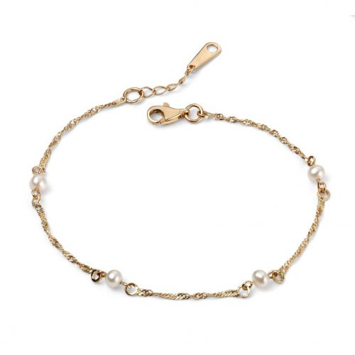 9ct Yellow and White Gold Chain Bracelet