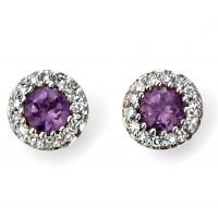 Diamond and Amethyst Cluster Earrings