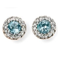 Diamond and Blue Topaz Cluster 9ct Gold Earrings