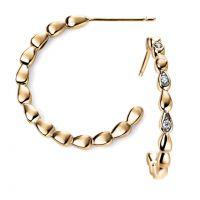 9ct Gold Diamond Beaded Hoop Earrings