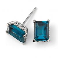9ct White Gold and Blue Topaz Stud Earrings