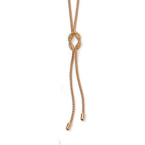 9ct Yellow Gold Knot Lariat 45cm Necklace