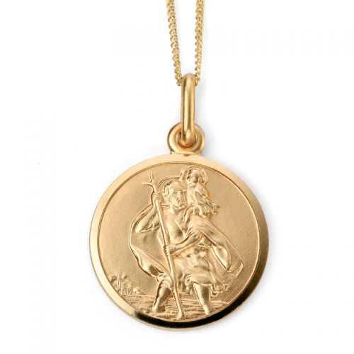 9ct Yellow Gold St. Christopher Pendant and Chain