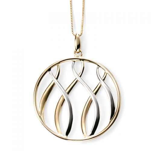 9ct Yellow and White Gold Wave Circle Pendant and Chain