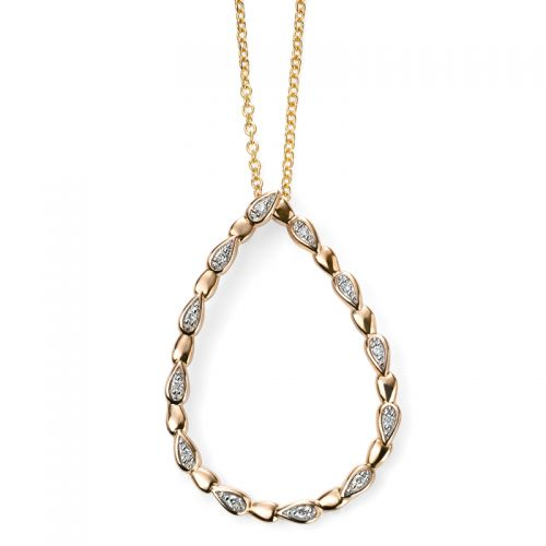 9ct Yellow Gold Diamond Open Teardrop Pendant and Chain