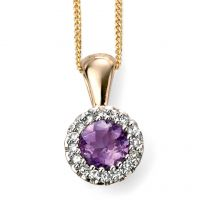 9ct Yellow Gold Diamond and Amethyst Cluster Pendant